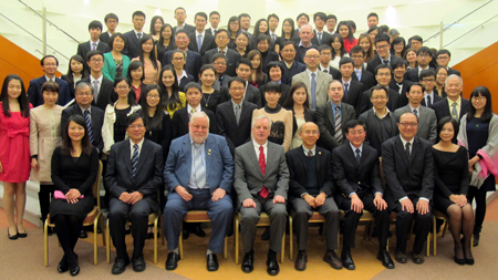 Group photo of PJC Master Prof George Watt (1st row, middle) and teachers and students