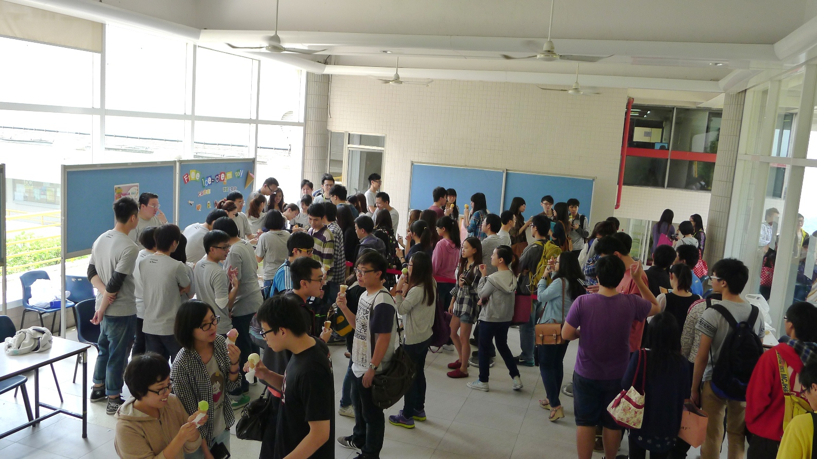 Over 200 students queue up for the free ice cream treat