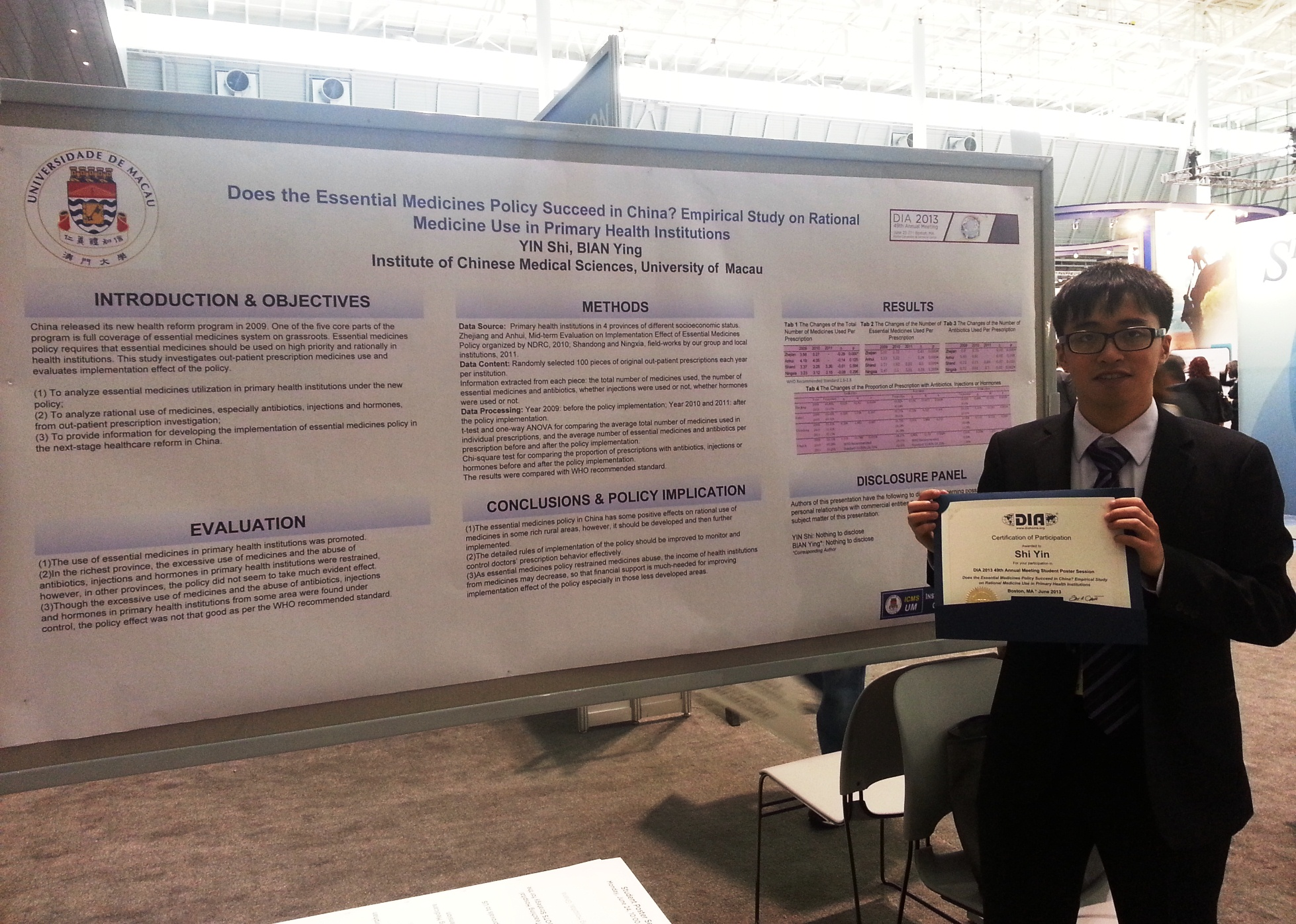 Yin Shi attends the 49th DIA Annual Meeting as a student poster presenter with full funding