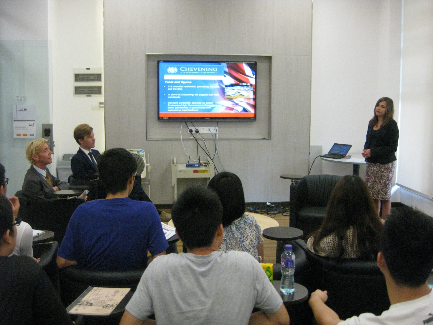 Ms. Jessica Tait tells students about the British Consulate Chevening Scholarship