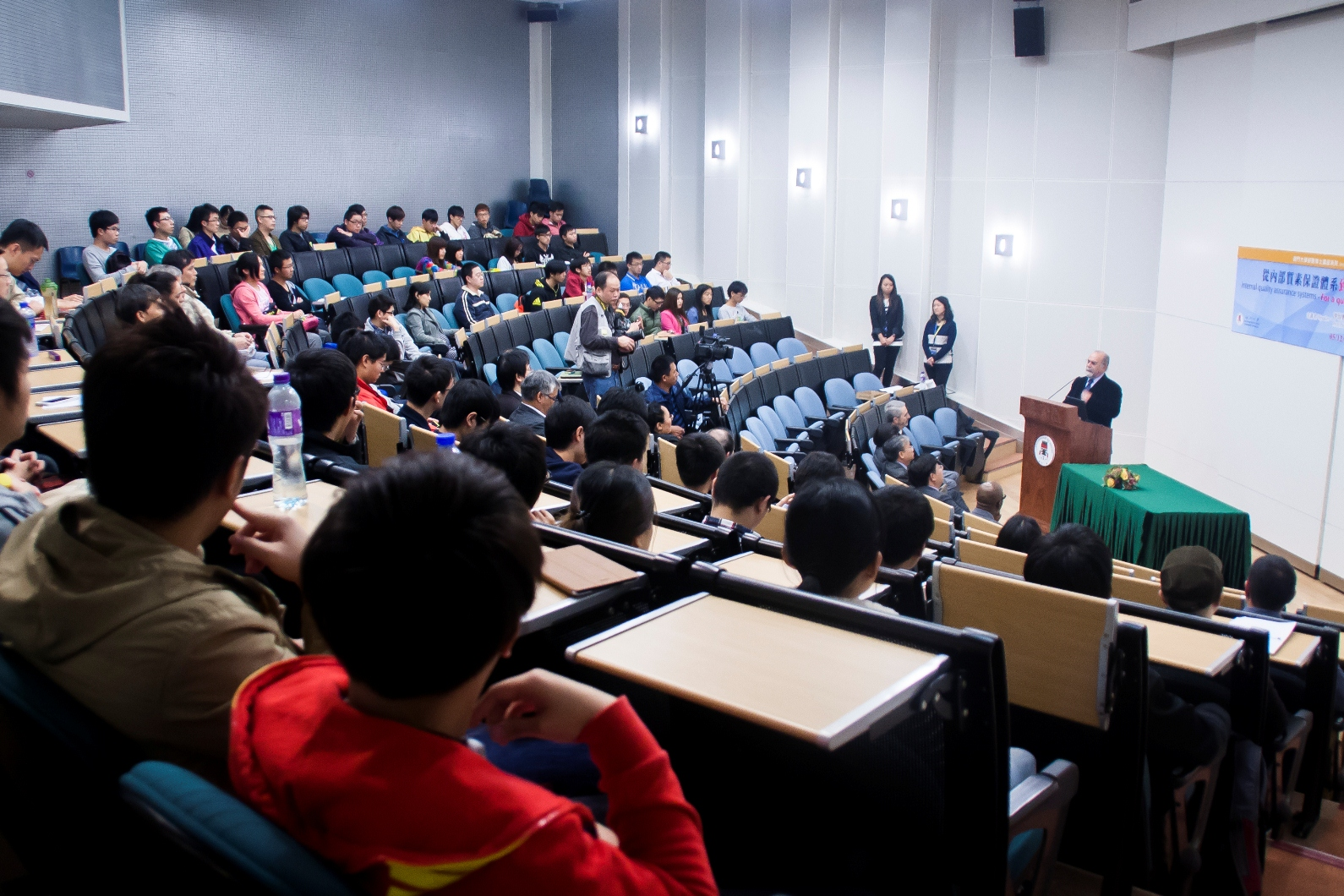 The talk attracts hundreds of students and faculty members