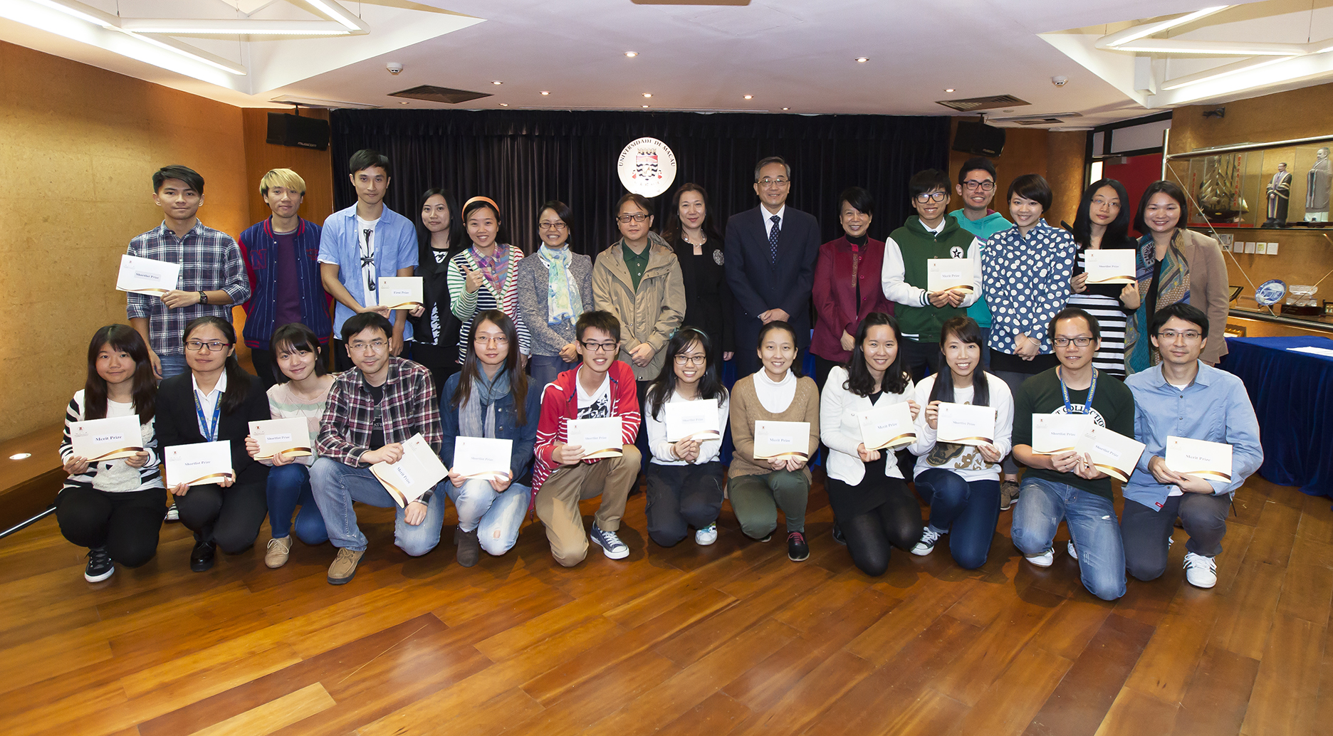 Group photo of the winners and judges