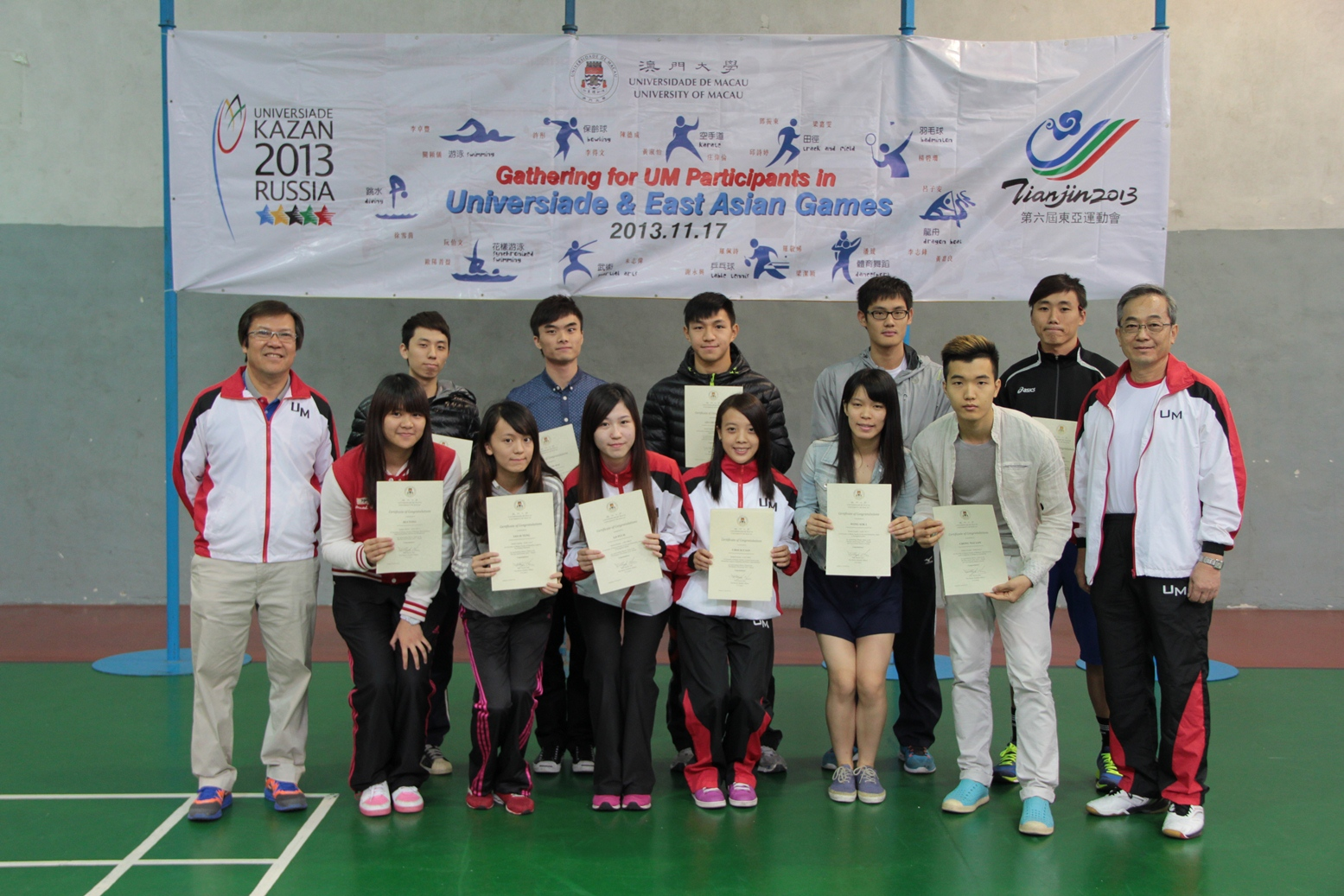 Haydn (1st from the right) encourages students to participate in sporting events.
