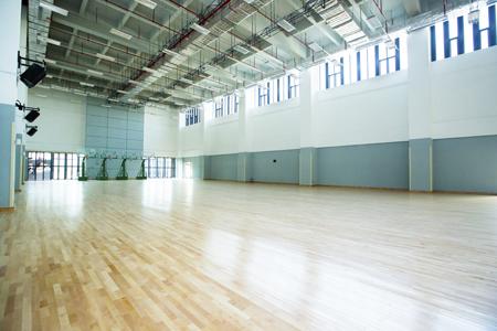 偌大的訓練館可作籃球場和排球場,也可以劃成8個羽毛球場。