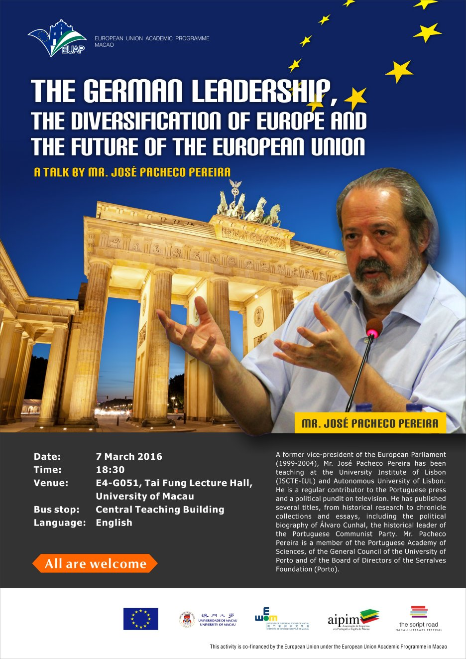The lecture on 'The German Leadership, the Diversification of Europe, and the Future of the European Union'