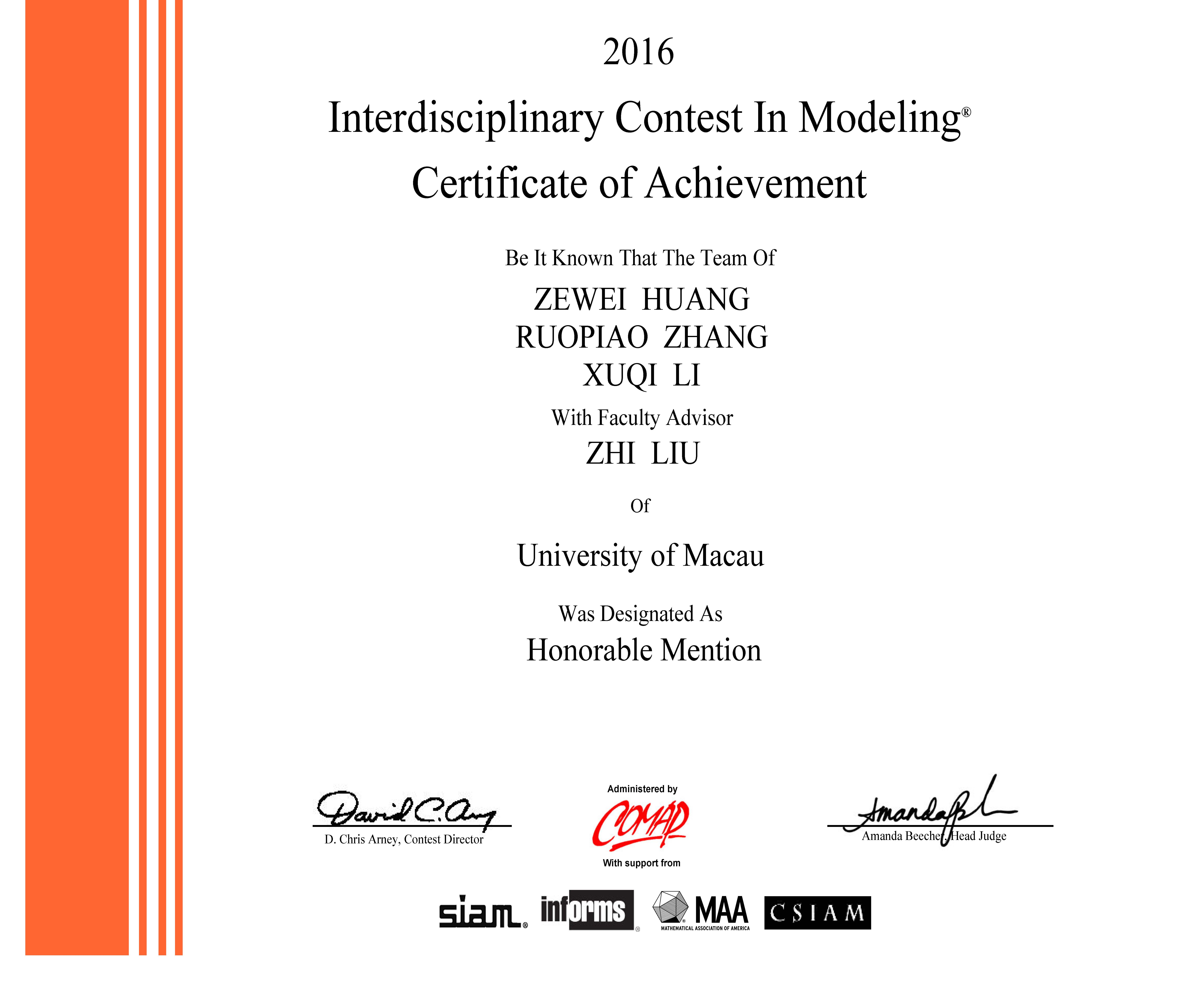UM students win a second prize at the Interdisciplinary Contest in Modeling held in the US