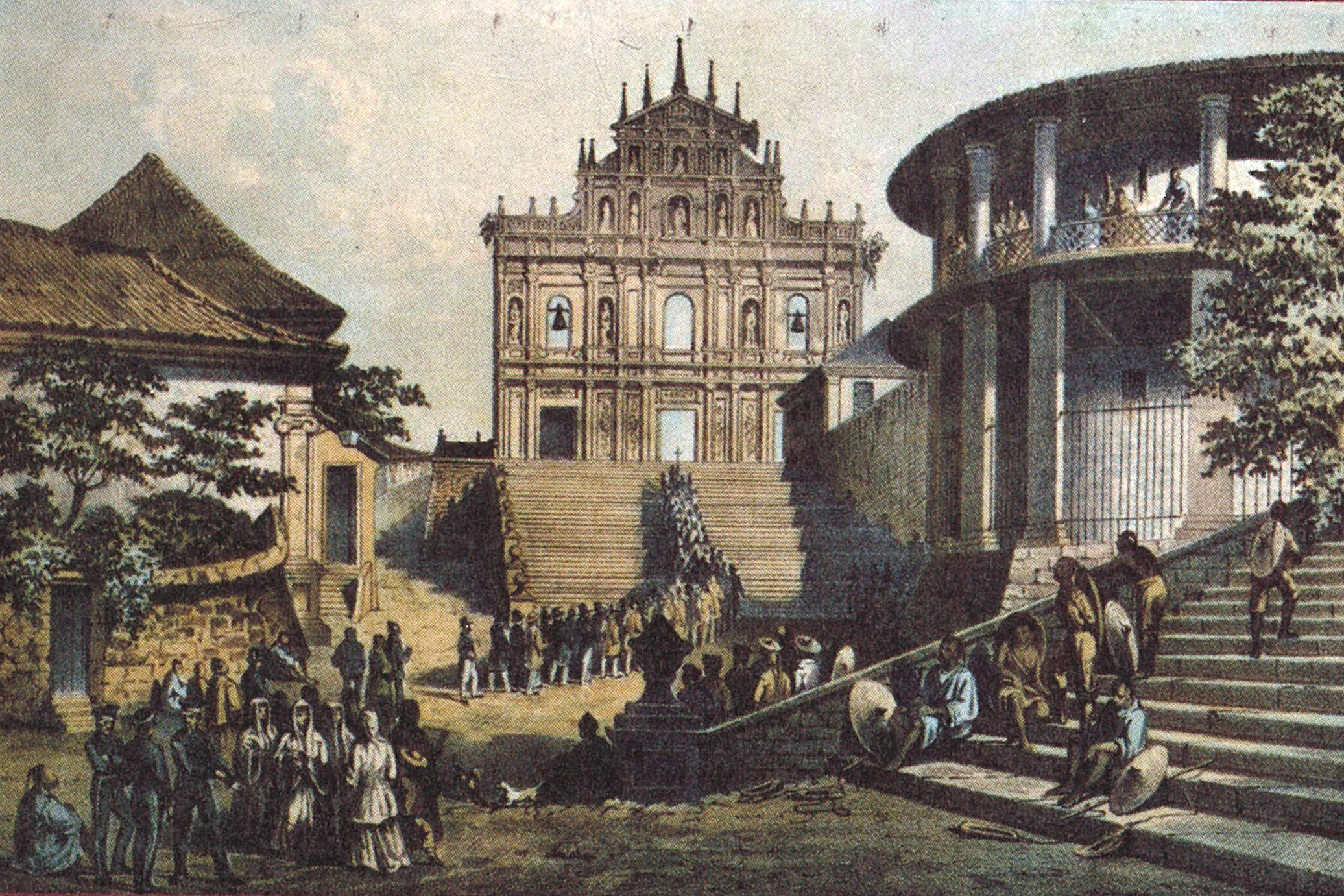 The printing place of St Paul's Cathedral and the Society of Jesus (SJ). Pictured are the ruins of the cathedral and the nearby buildings.