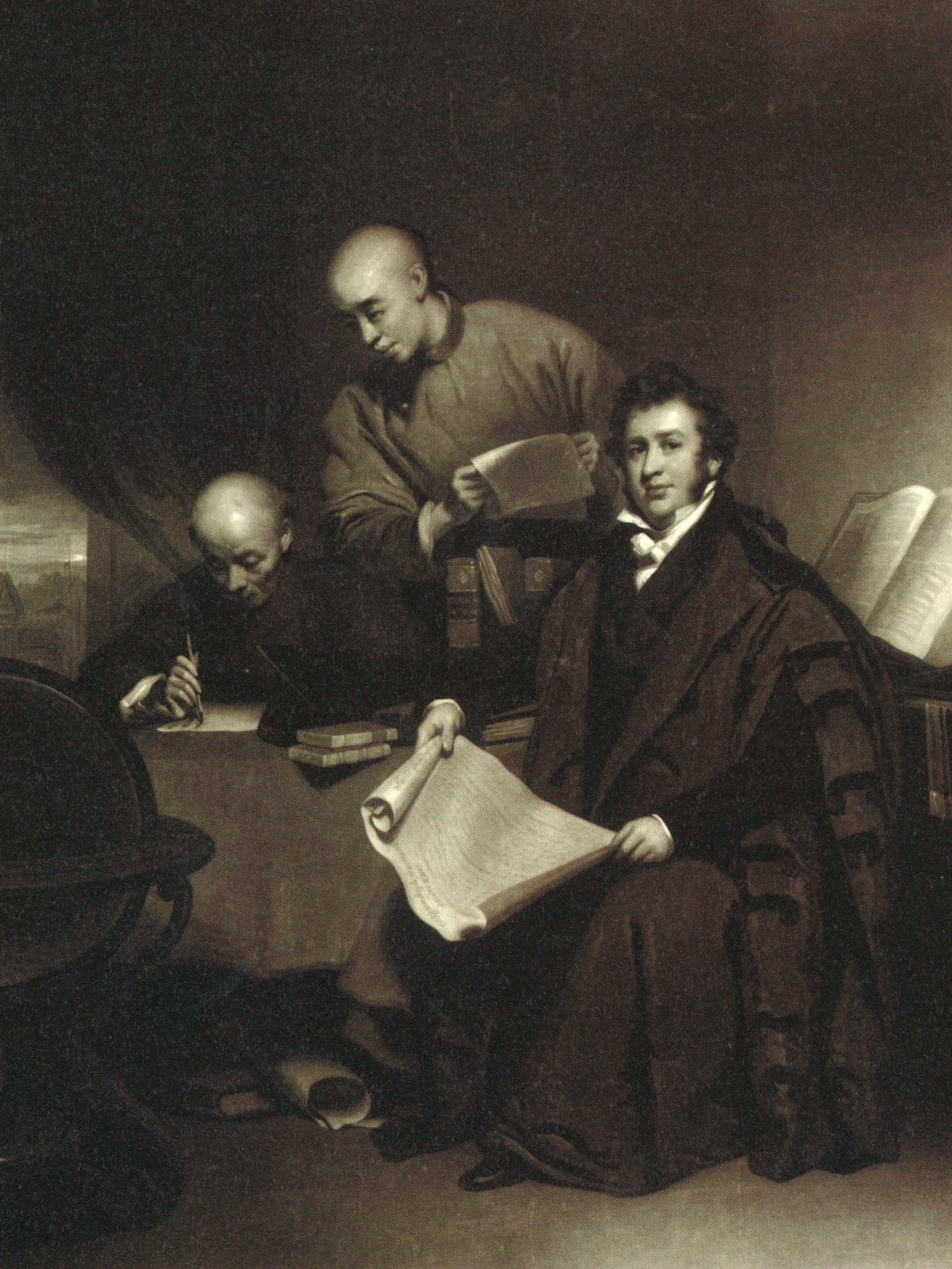 A picture of Robert Morrison translating The Bible. Dr Lam found this picture in the Victoria and Albert Museum in the United Kingdom.
