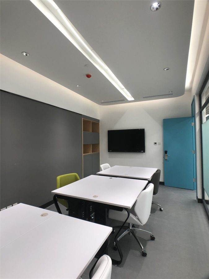The conference room, independent offices, and coffee area in the Centre for Innovation