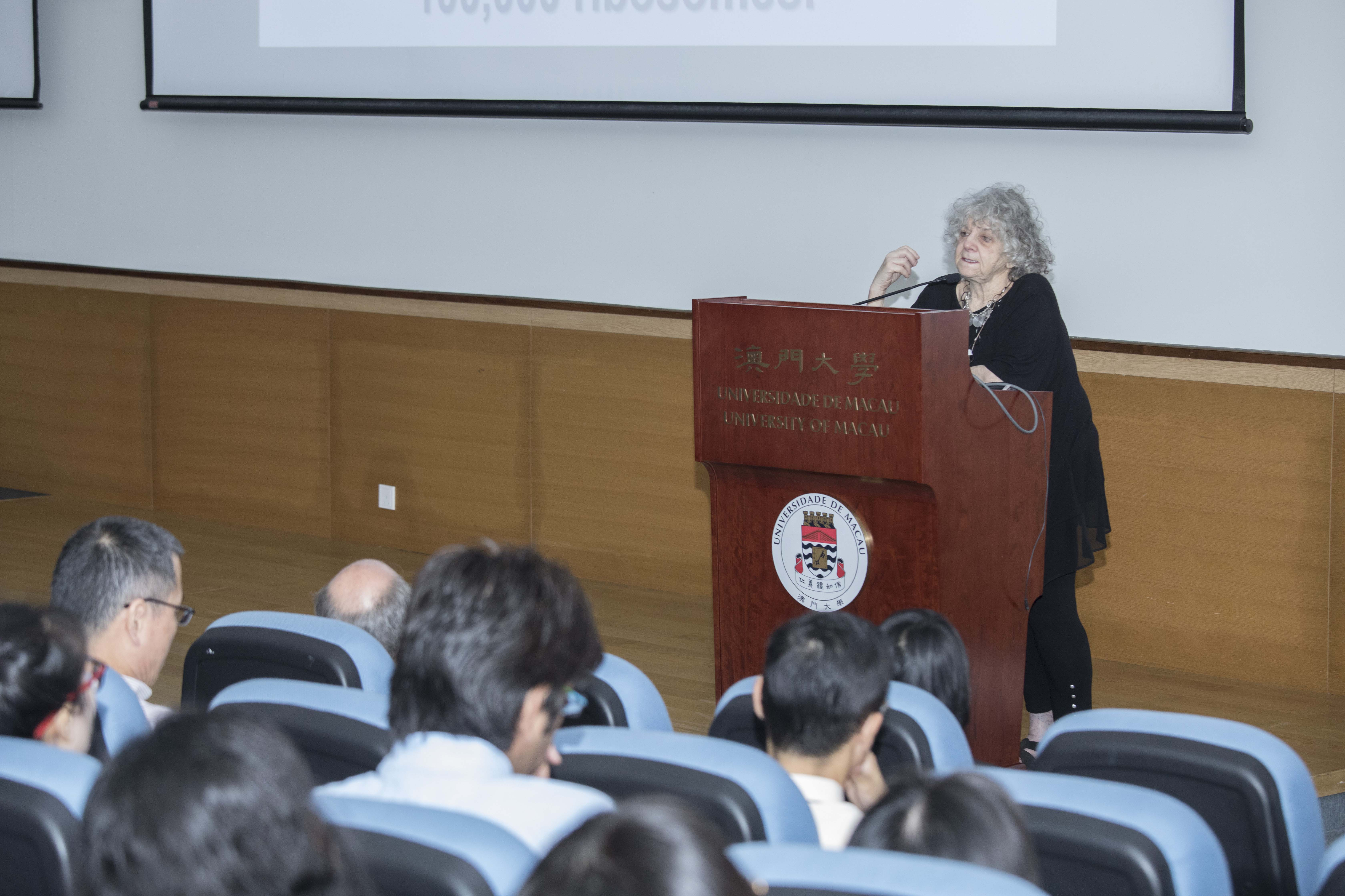 Prof Yonath gives a talk on resistance to antibiotics and the origin of life