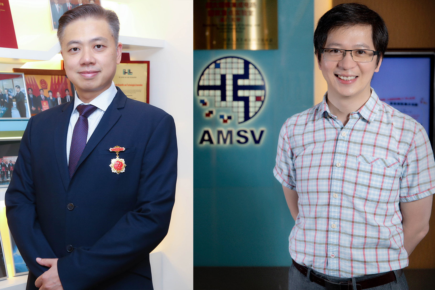 Prof U Seng Pan (left) and Prof Mak Pui In (right),recipients of the commemorative medal for the 70th anniversary of the PRC.