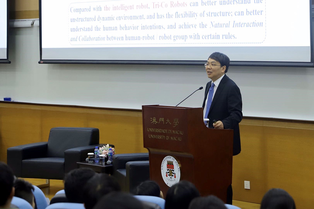 Ding Han gives a talk at UM on the future of robotics