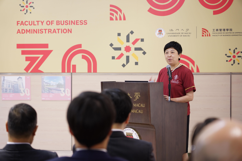 Jean Chen gives a speech