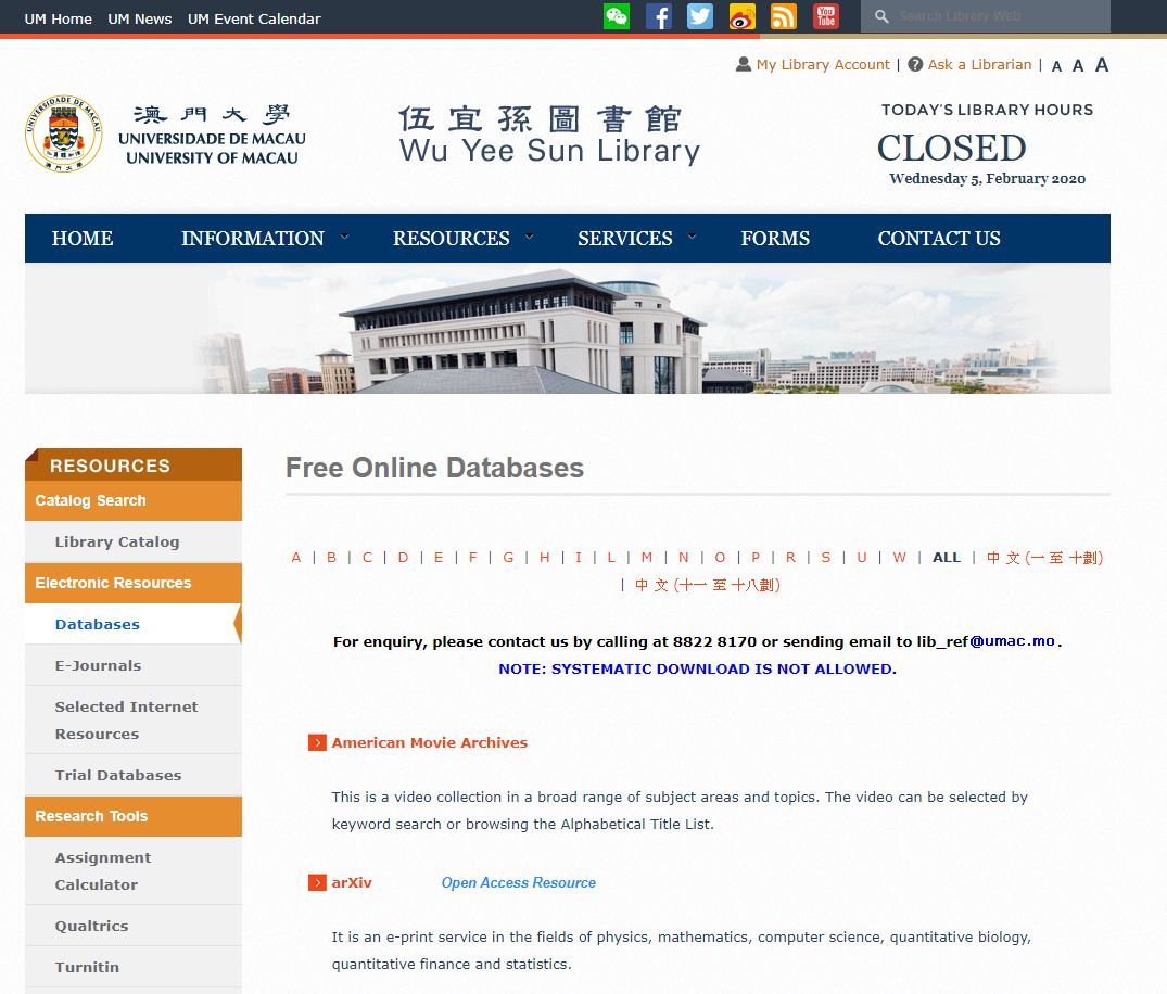 Online database (available to the public)