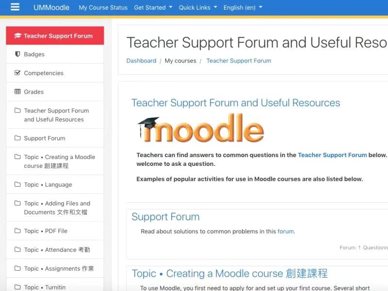 UM Moodle learning platform (only available to UM faculty members and students)