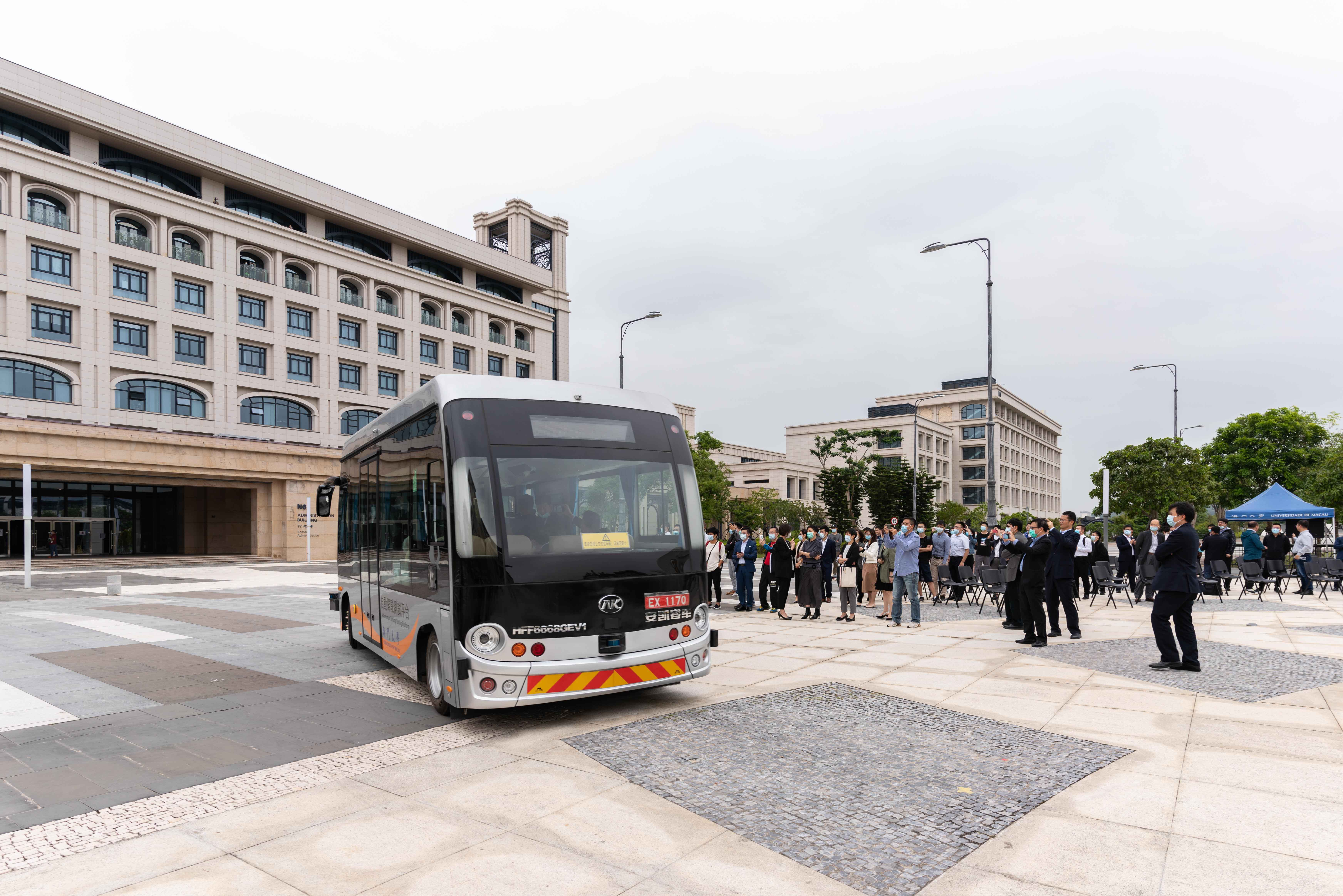 The bus runs on the UM campus on a trial basis